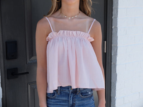Blush Tank Ruffle Trim