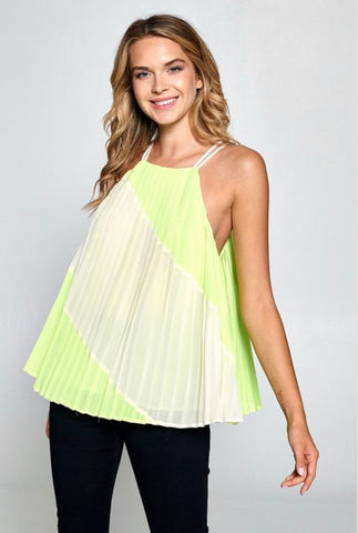 Lime Pleated Top