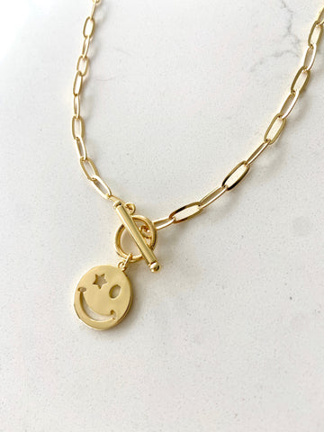 18K Gold Filled Smiley Necklace with Toggle Clasp