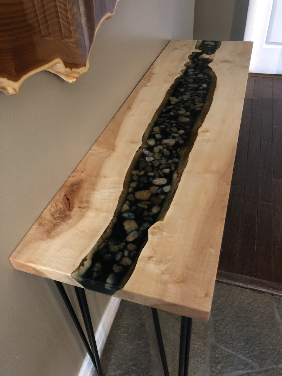 Live Edge River Rock Table.