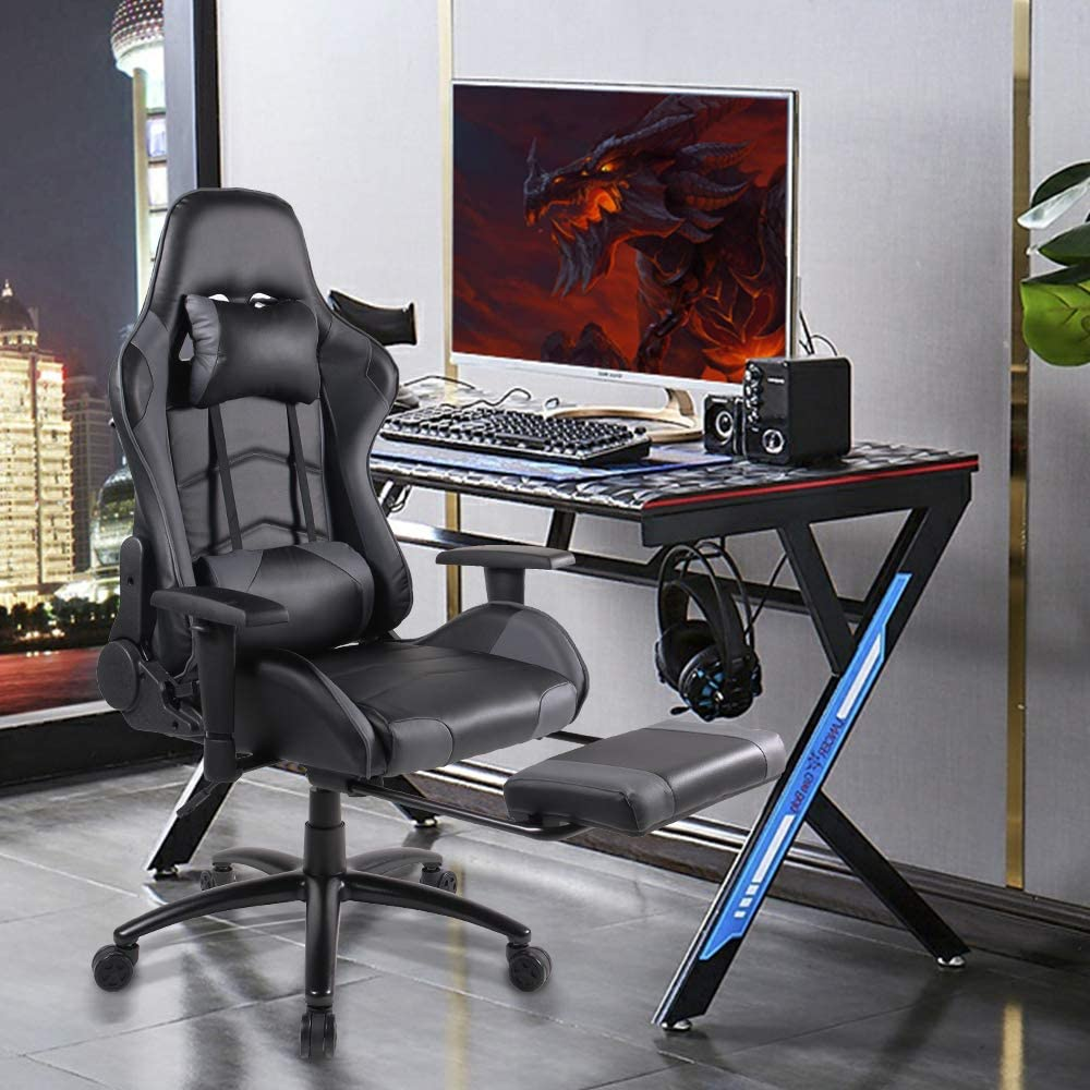 Ergonomic Swivel Gaming Chair With High Back PU Leather And Headrest - AzraTec