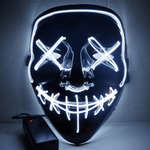 👺Black V  Horror Glowing LED halloween mask - AzraTec