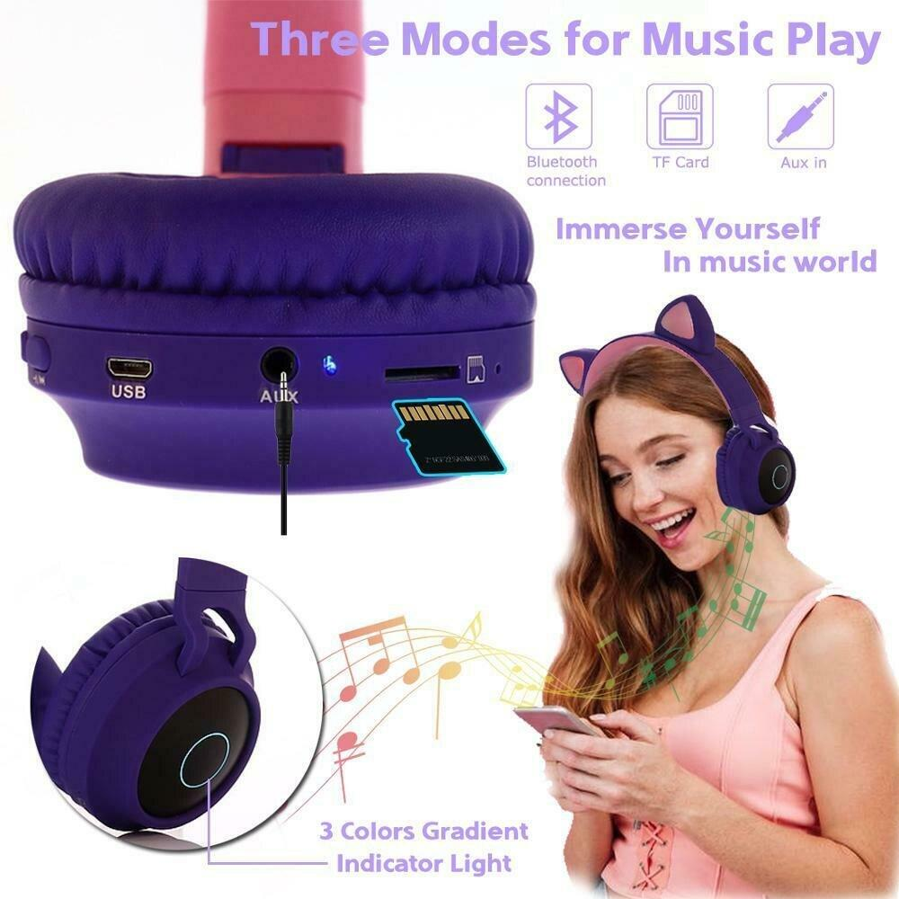 Cute  Cat Ear Bluetooth Gaming Headphone - AzraTec