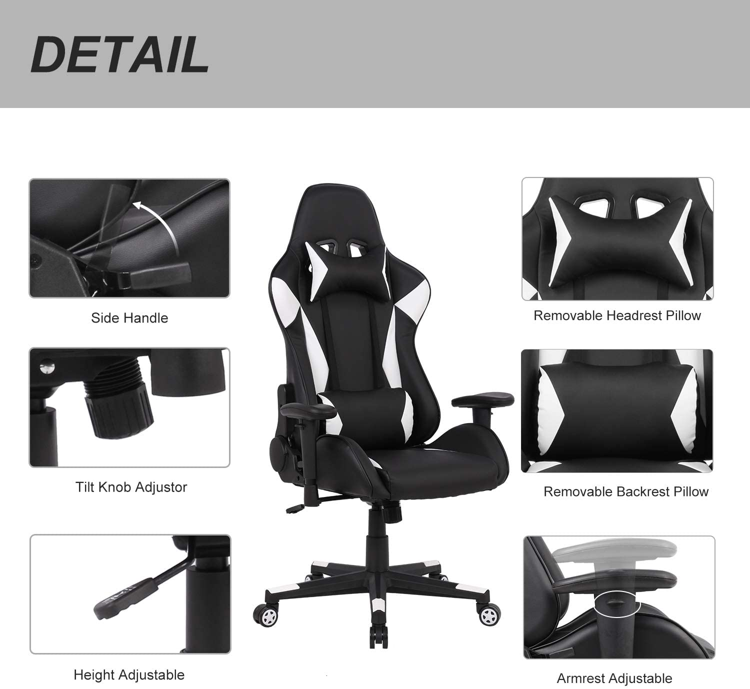Adjustable  Swivel Ergonomic Gaming Chair with Headrest and Lumbar Support - AzraTec