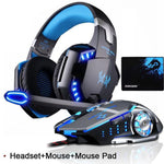 KOTION EACH Gaming Headset with Microphone LED Light for PS4 PC and Gaming Mouse with Mouse Pad - AzraTec