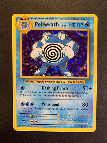 Poliwrath - 25/108 Holo Rare - XY Evolutions Set