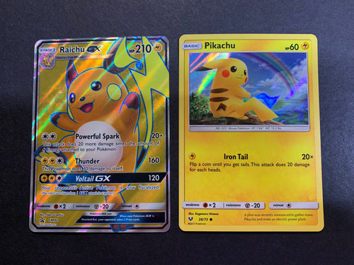 Raichu GX & Holo Pikachu - SM90 Full Art Ultra Rare Promo - Shining Legends