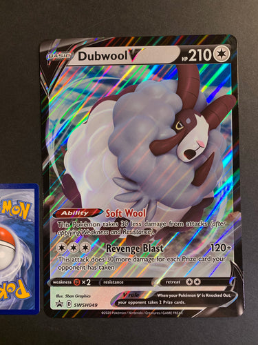 Pokemon Jumbo Dubwool V Card - SWSH049 Ultra Rare Promo