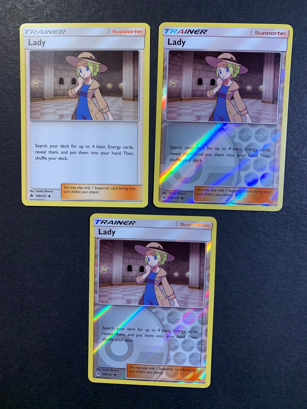 Lady - 109/131 Trainer 3x Pokemon cards