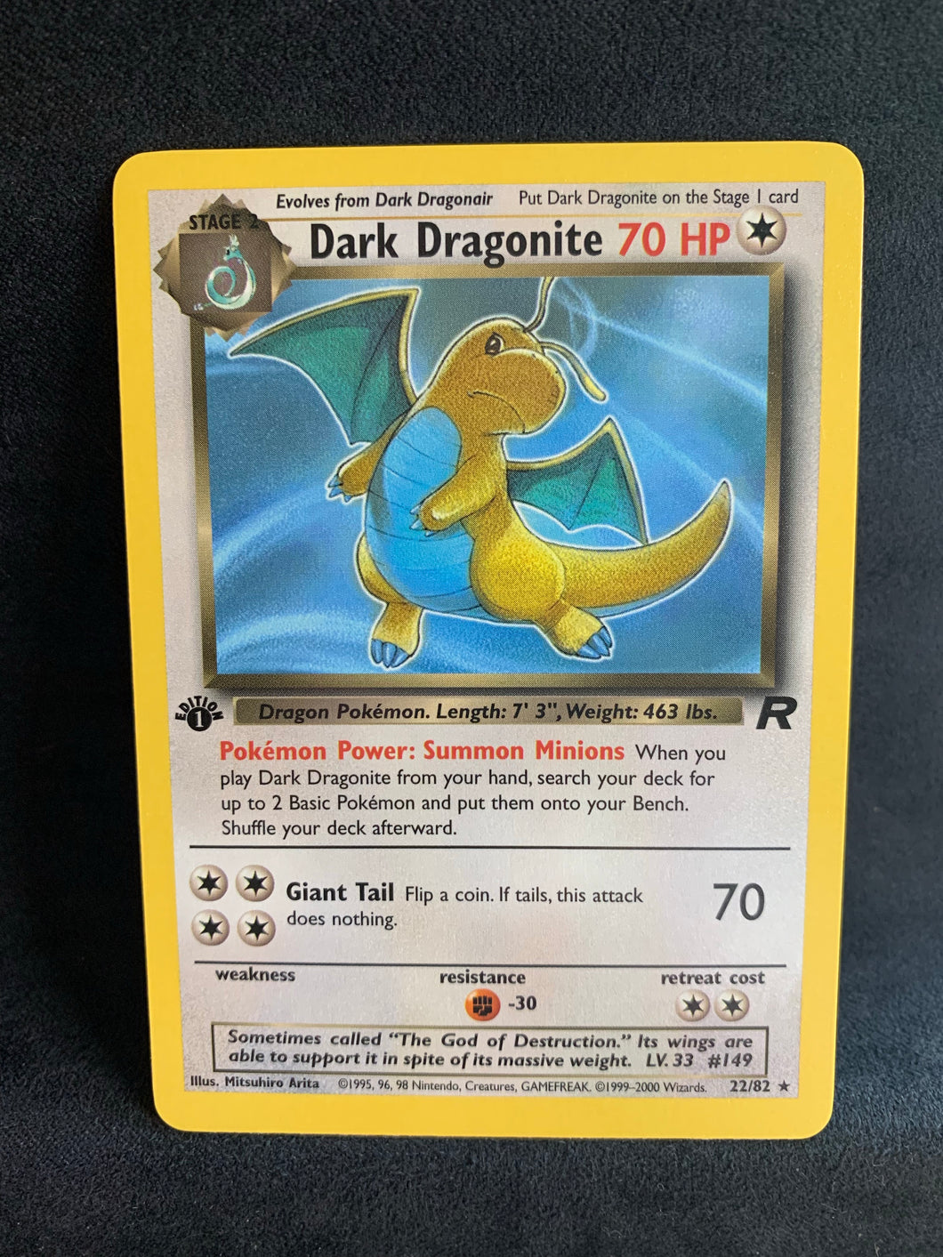 Dark Dragonite 1st Edition - 22/82 Rare - Vintage Pokemon Non-Holo