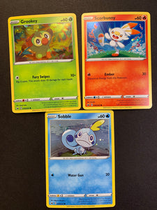 Scorbunny 030/202, Sobble 054/202, Grookey 010/202 - Holo Rare Promo - Pokemon Collector Chest Tin
