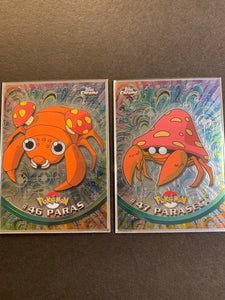 Paras #46, Parasect #47 - Chrome Topps TV Animation Edition Lot