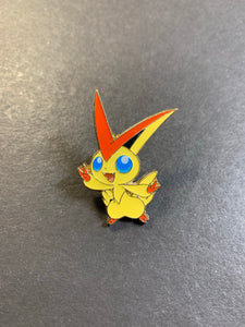 Official Victini Metal Pokemon Pin - Mythical Collection Box