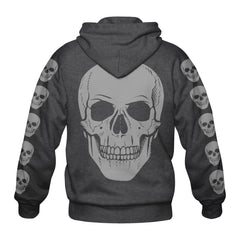 "HOODIE with ""WORD"" on front & multiple skulls on back and sleeves - CHARCOAL GRAY"