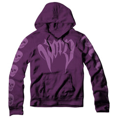 "BADASS HOODIE with ""WORD"" on front & skulls on back and sleeves - PURPLE!"