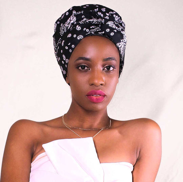 African Print Satin-Lined  Black & White Headwrap