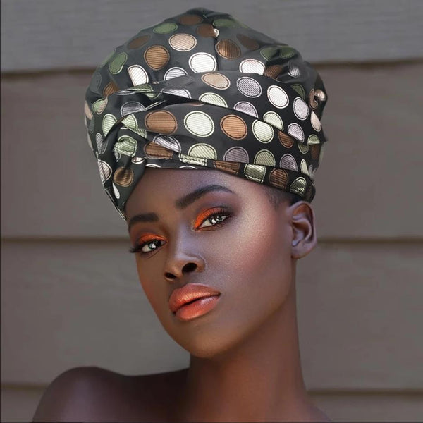 African Print Satin-Lined Black Dots Silk Headwrap