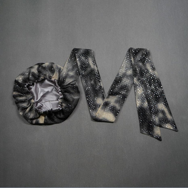 African Print Satin-Lined Grey Star Headwrap AC1146