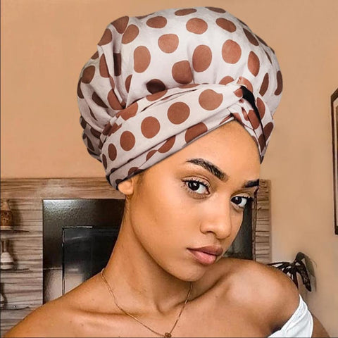 African Print Satin-Lined Brown Chocolate Aftificial Silk Headwrap