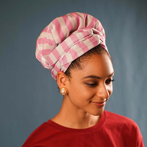 African Print Satin-Lined Pink Ribbon Artificial Silk Headwrap
