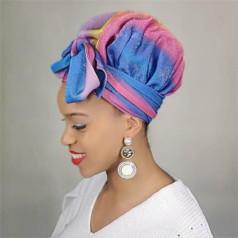 African Print Satin-Lined Blue Heart Artificial Silk Headwrap AC1149