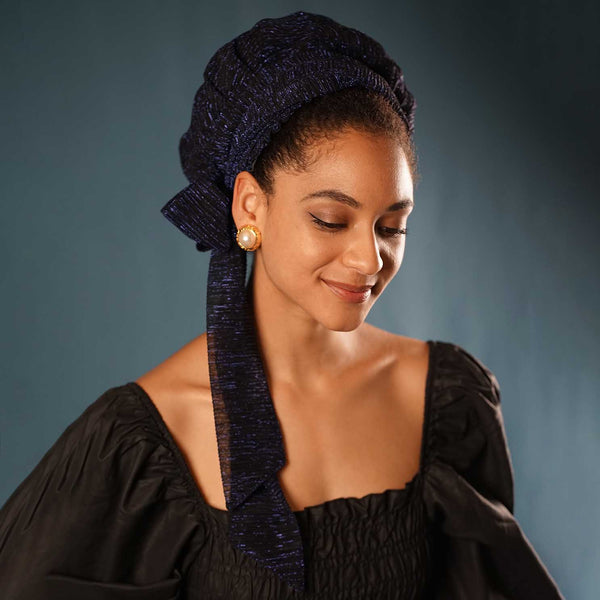 Solid Color Satin-Lined Blue Light Headwrap AC1151