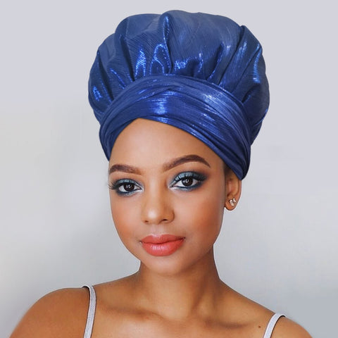 Solid Color Satin-Lined Blue Saphire Headwrap
