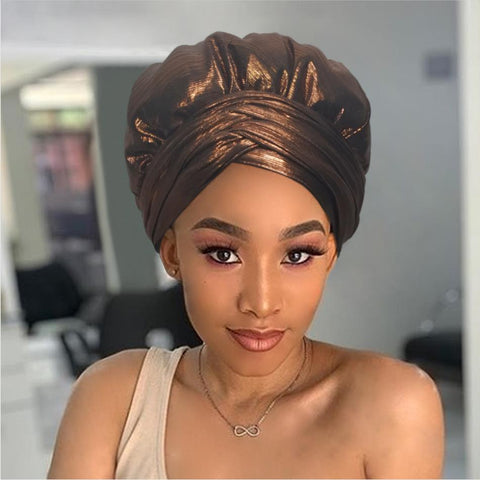 Solid Color Satin-Lined Copper Mine  Headwrap