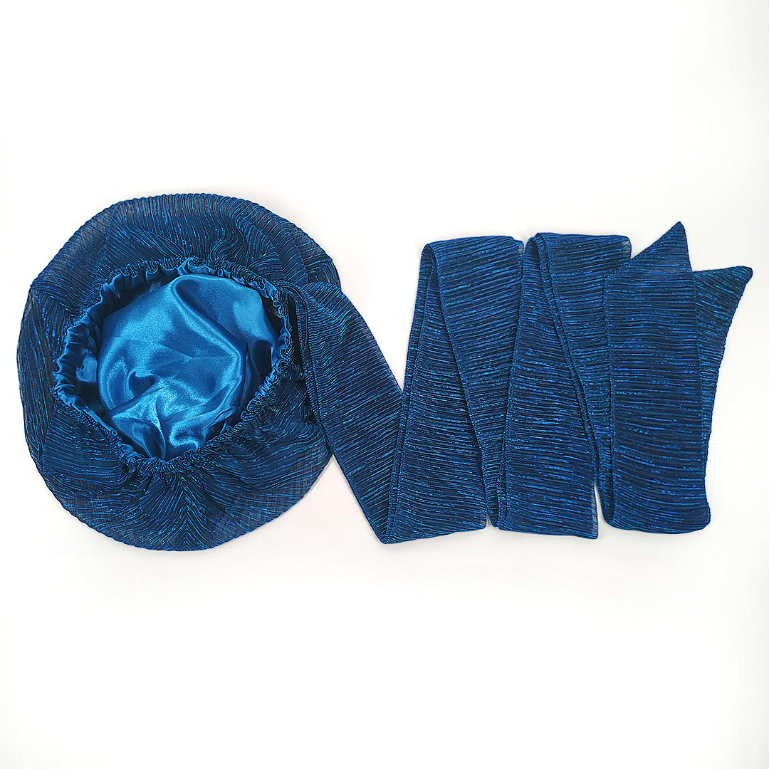 Solid Color Satin-Lined Blue Bird Headwrap