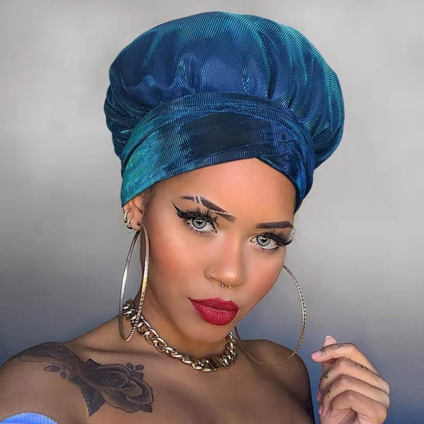 Solid Color Satin-Lined Blue Berries Headwrap