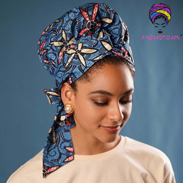 African Print Satin-Lined Blue Jungle Linen Cotton Headwrap
