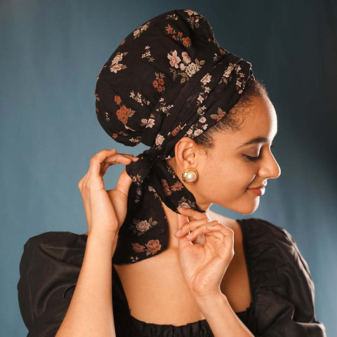 African Satin-Lined Floral Printed Linen Cotton Headwrap AC1178
