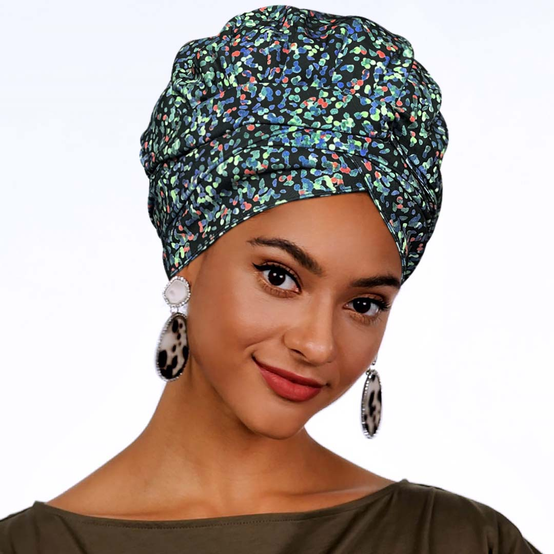 African Print Satin-Lined Floral Glass Headwrap