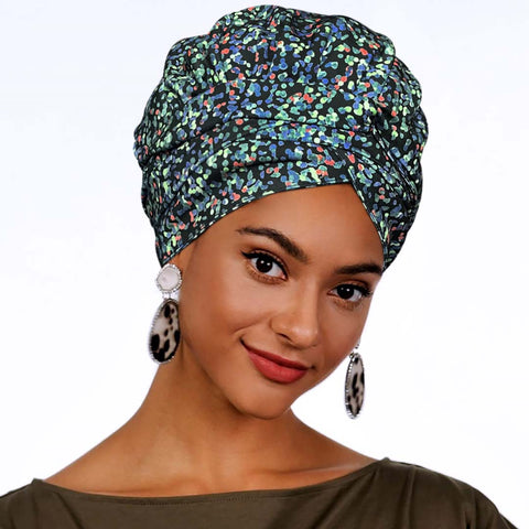 African Print Satin-Lined Floral Glass Headwrap AC1179