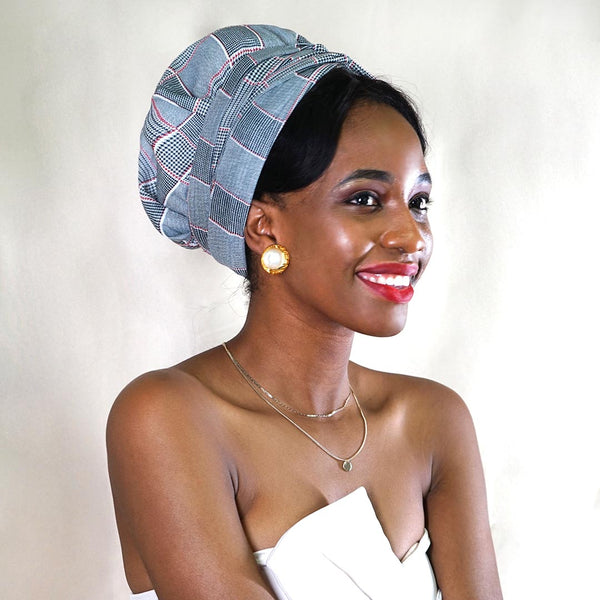 African Print Satin-Lined Grey Plaid Headwrap