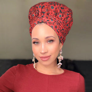 African Print Satin-Lined Red Petals Headwrap