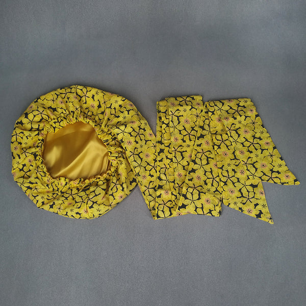 African Print Satin-Lined Yellow Magic Headwrap