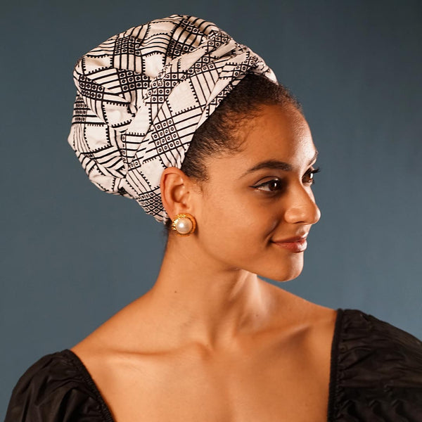 African Print Satin-Lined  Tic Tac Toe Headwrap