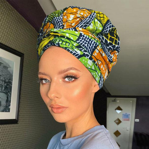 African Print Headwrap with Satin-Lined AC1193