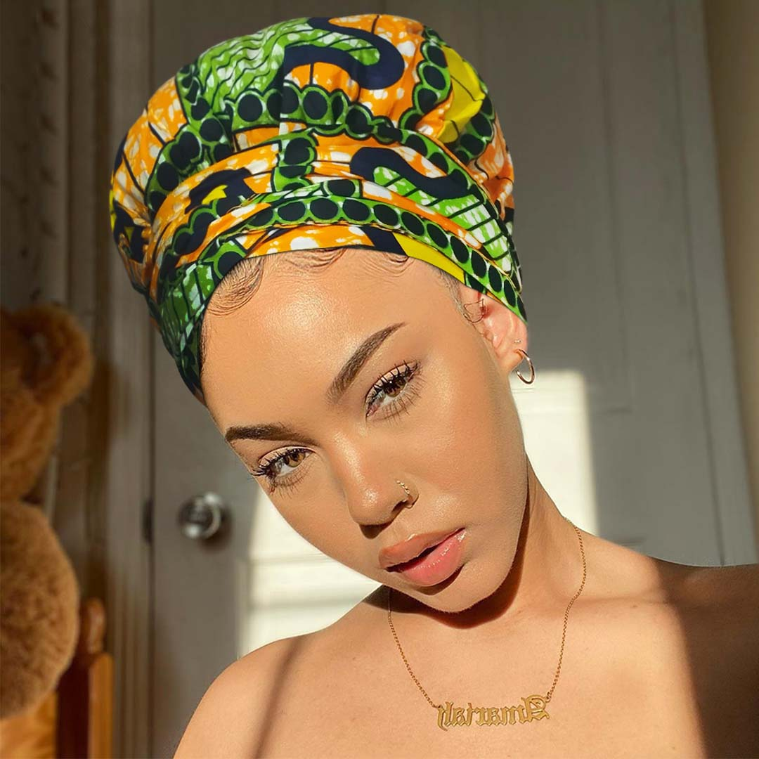African Print Headwrap with Satin-Lined AC1199