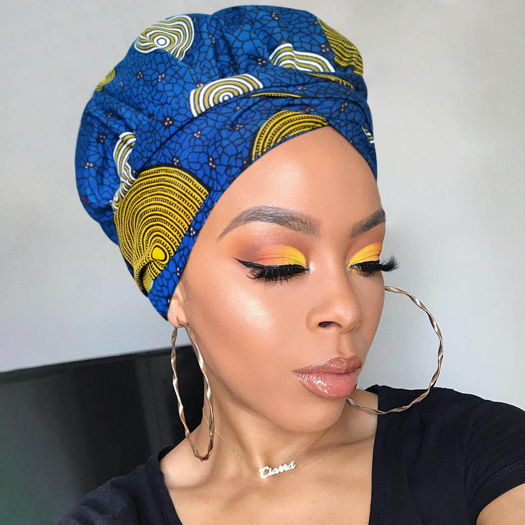 African Print Satin-Lined Medusa Wide Band Headwrap AC1210