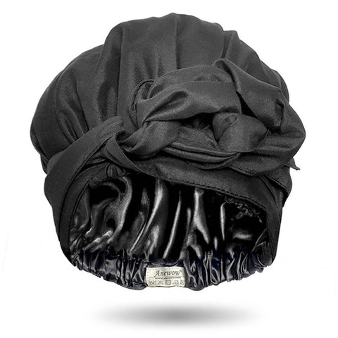 Solid Color Satin-Lined Black Magic Silk Headwrap