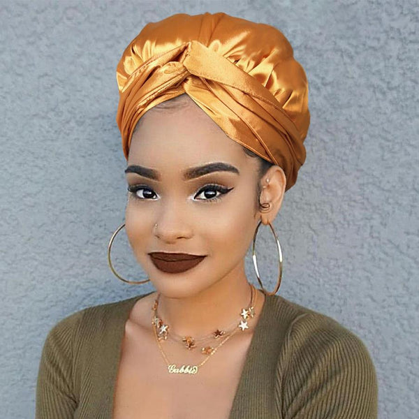 Solid Color Satin-Lined Bronze Beauty Silk Headwrap