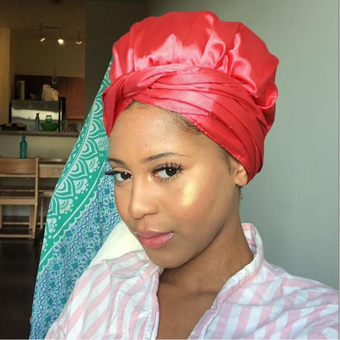 Solid Color Satin-Lined Red Jam Silk Headwrap