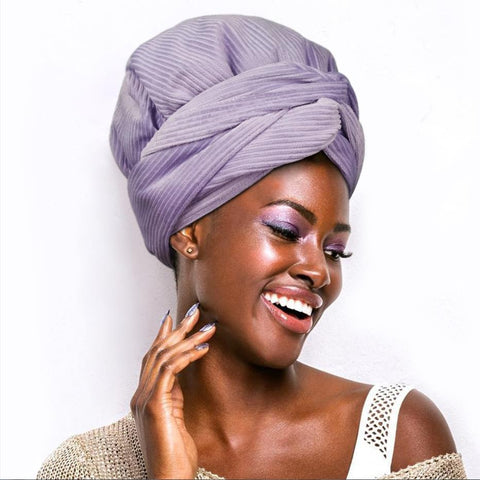 Solid Color Satin-Line Purple Crystal Curduroy  Headwrap