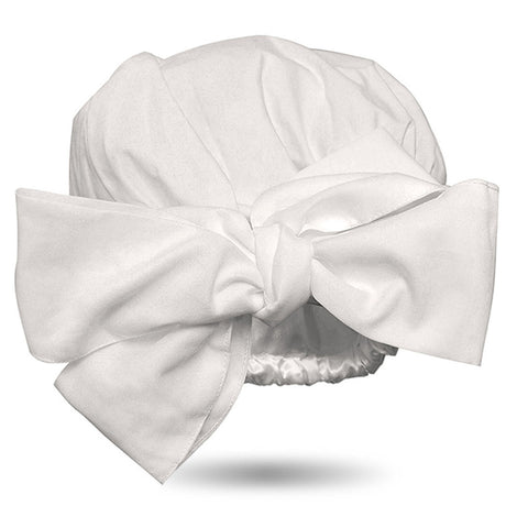 Solid Color Satin-Lined Snow White Cotton Headwrap AC1813