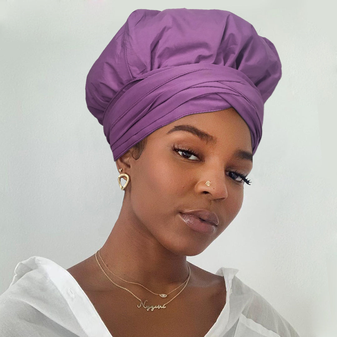 Solid Color Satin-Lined Purple Parul Linen Cotton Headwrap