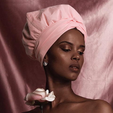 Solid Color Satin-Lined Pink Cupcake Linen Cotton Headwrap AC1820