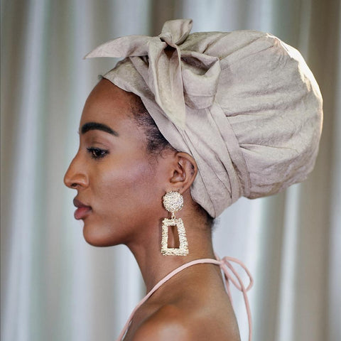 Oatmeal Color Satin-Lined Lyocell Headwrap