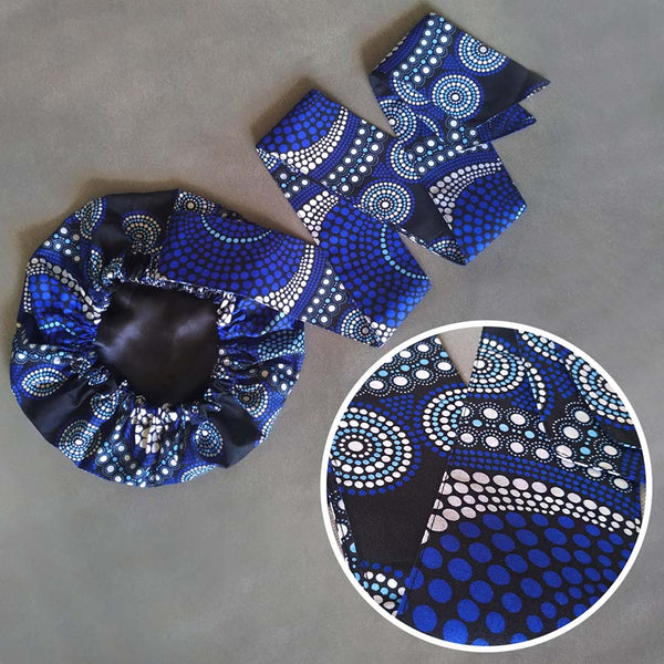 African Print Satin-Lined Pearl Bubble Headwrap